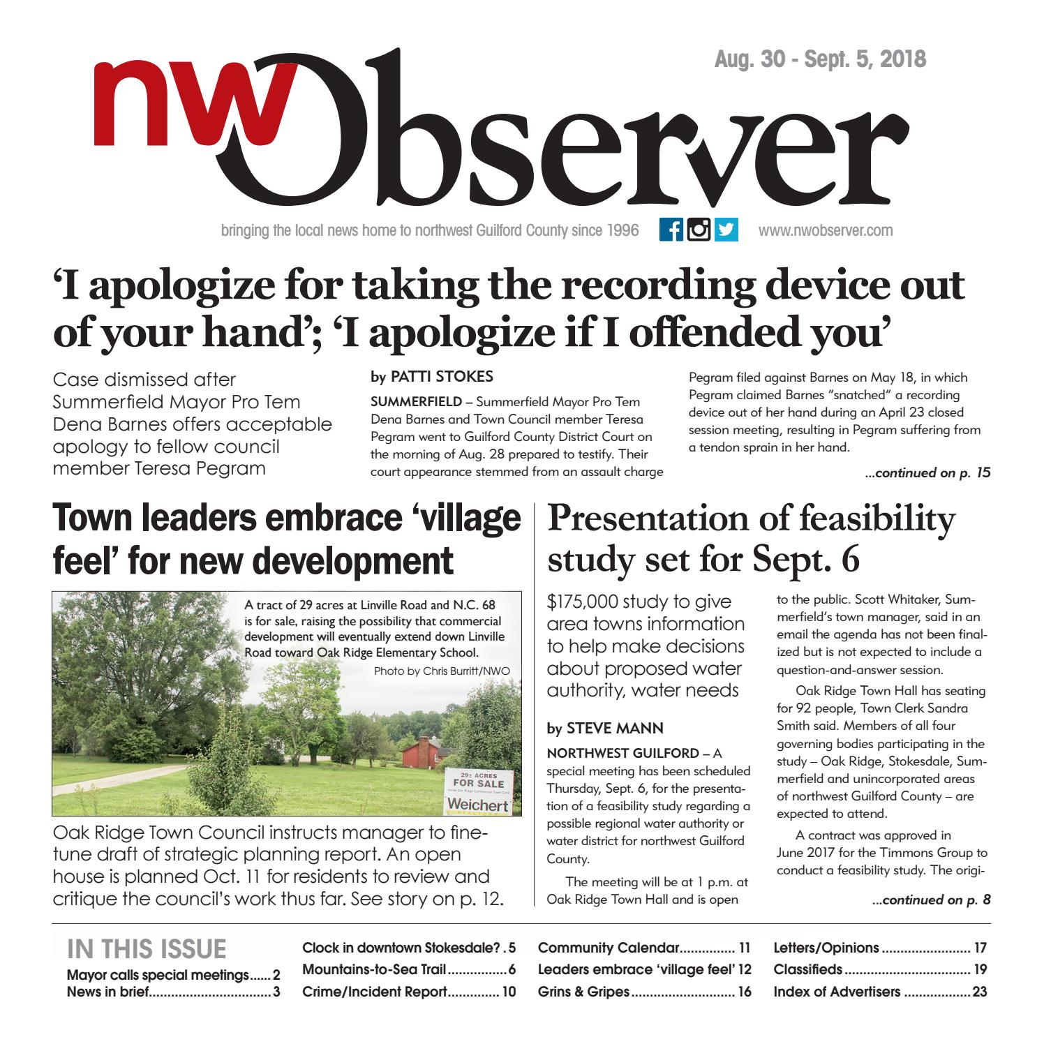 Northwest Observer I August 30 - September 5, 2018 by