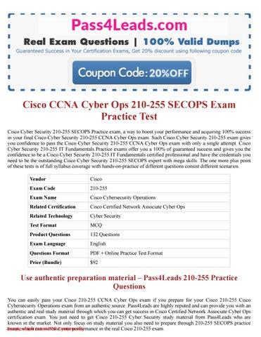 Cisco 210-255 Exam questions PDF (2018 Updated) - 210-255 Online