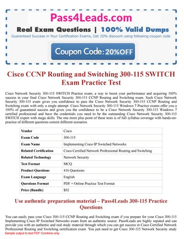 Cisco 300-115 Exam questions PDF (2018 Updated) - 300-115 Online
