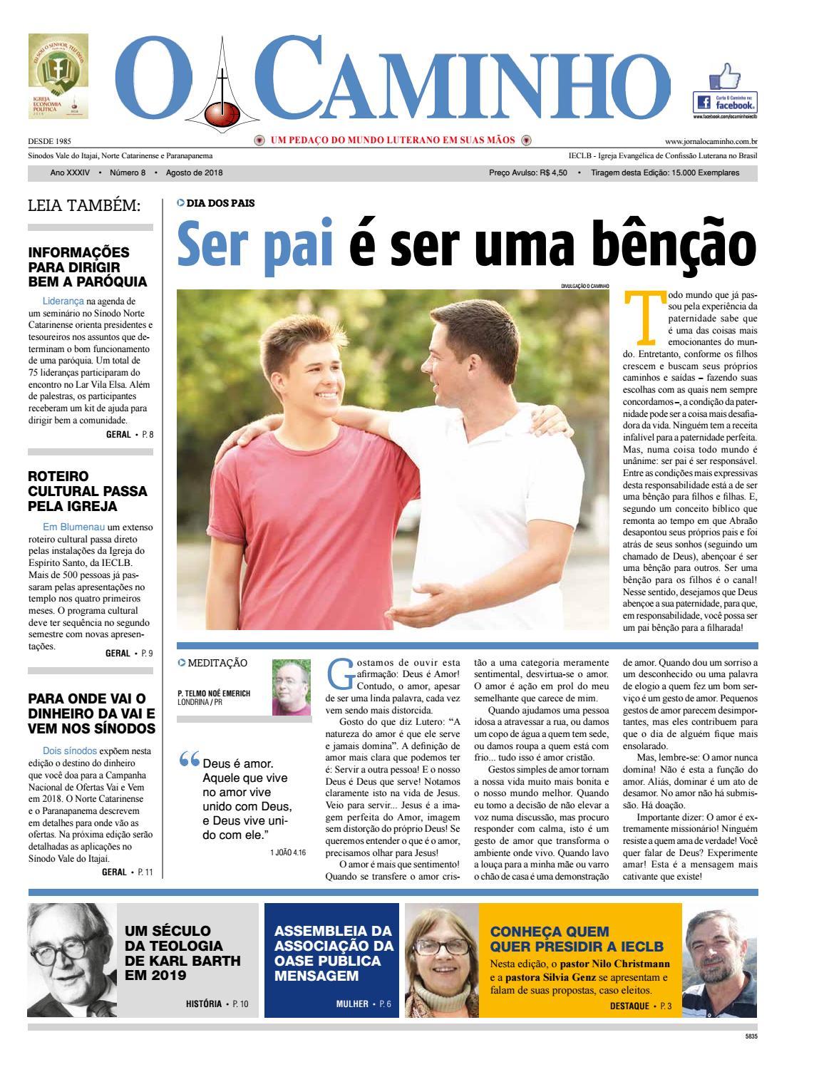 c424e7dde O Caminho - Ano 34 - Número 8 - Agosto de 2018 by Portal Luteranos - IECLB  - issuu