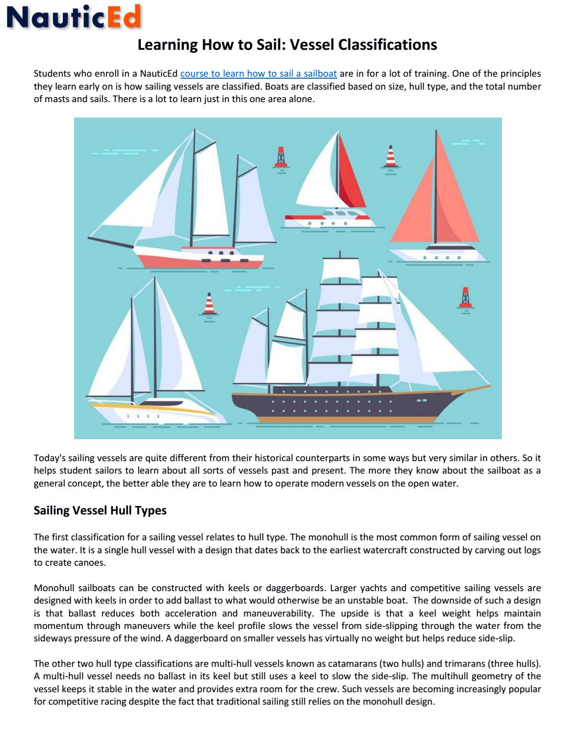 Learning How to Sail: Vessel Classifications by