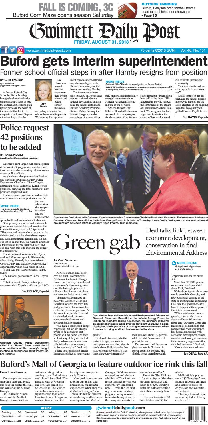 August 31, 2018 — Gwinnett Daily Post by Gwinnett Daily Post