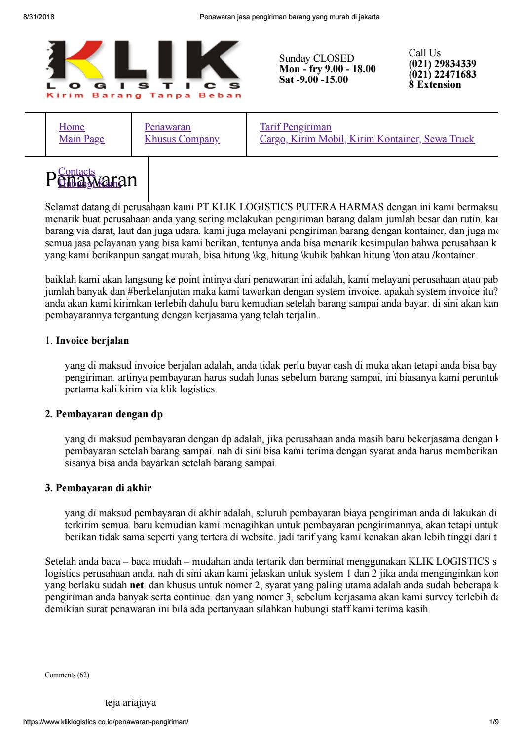 Penawaran Jasa Pengiriman Barang Yang Murah Di Jakarta By Klik Logistics Jasa Cargo Murah Jakarta Issuu