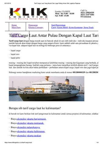 Tarif Cargo Laut Yang Murah Dan Juga Paling Aman Klik Logistics 568bbcfb78