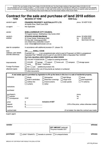 Contract for the sale of business 2004 edition.