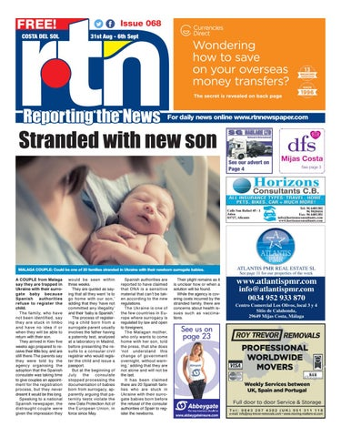 Rtn Newspaper Costa Del Sol 31 August 6 September 2018 Issue 068