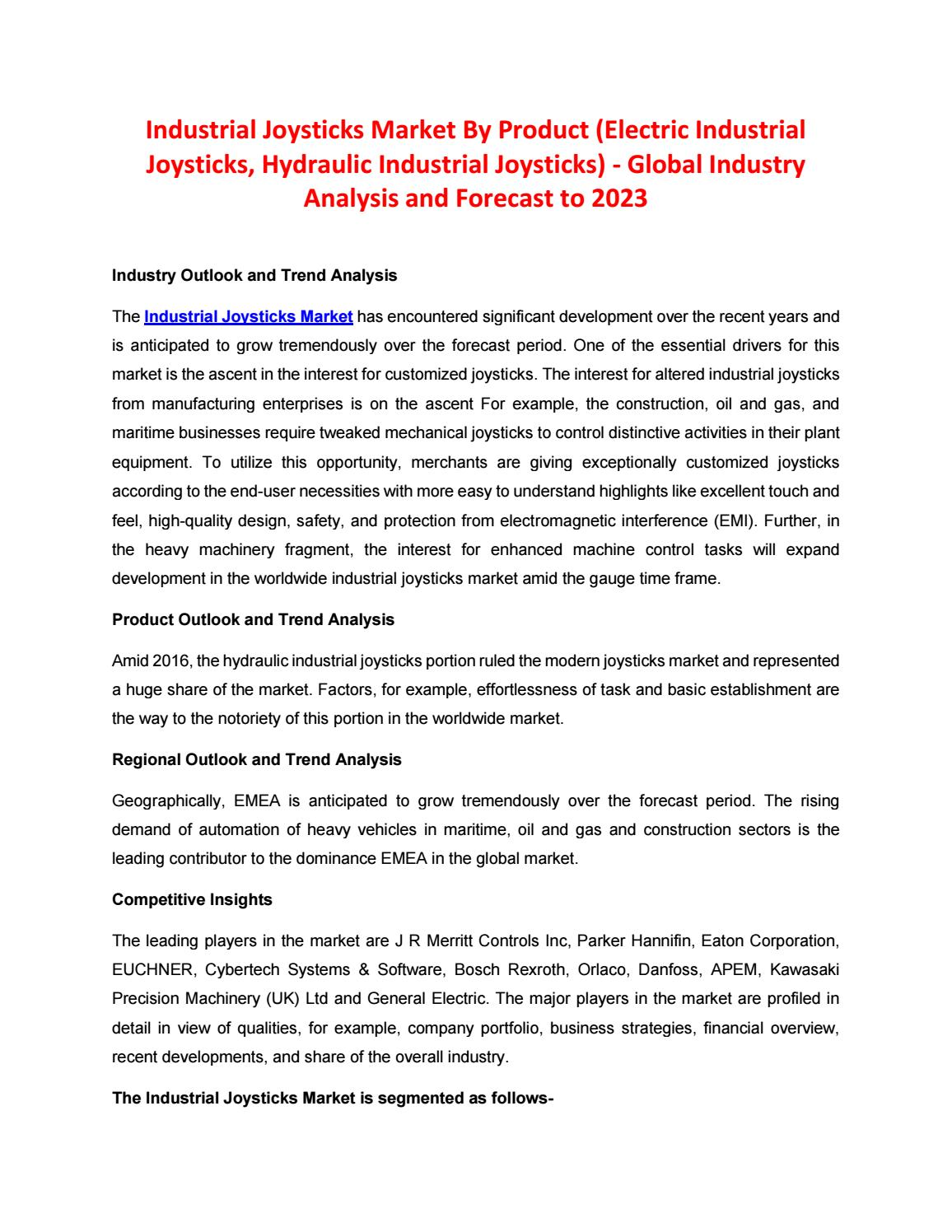 Industrial Joysticks Market by Product (Electric Industrial