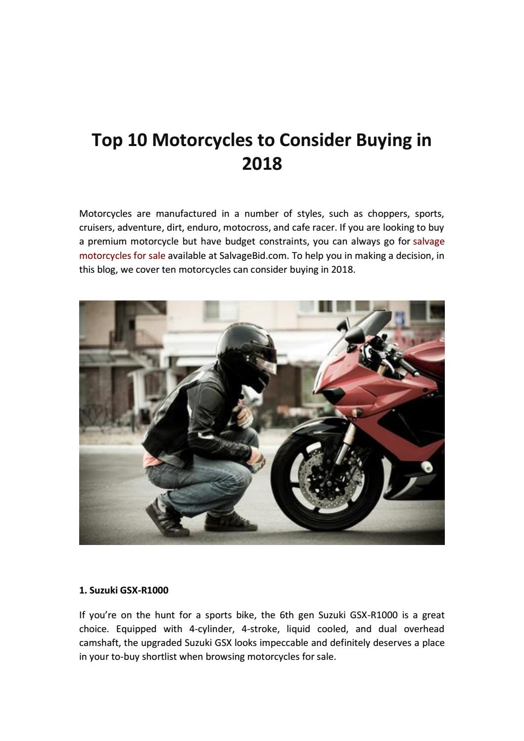 Top 10 Motorcycles to Consider Buying in 2018 by Mark