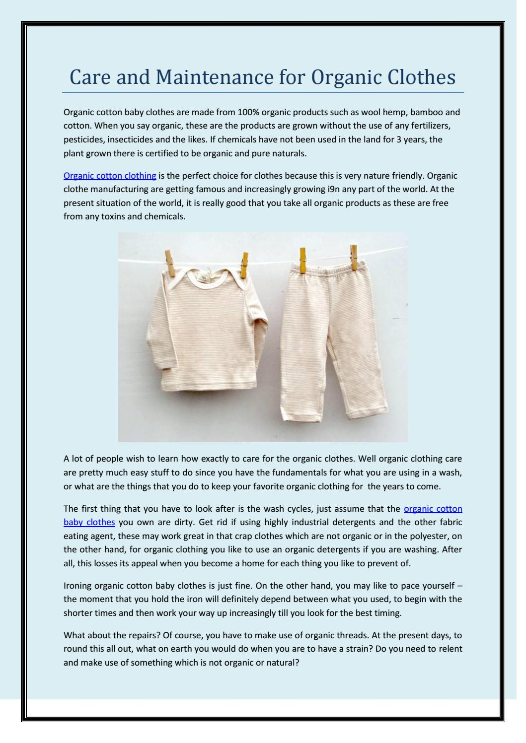Care And Maintenance For Organic Clothes By Tilly And Jasper Issuu