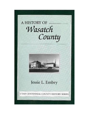 Utah Centennial County History Series Wasatch County 1996 By Utah
