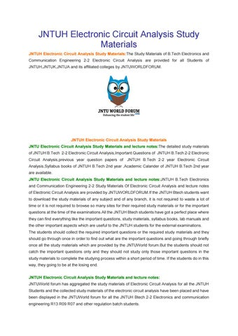 jntuh electronic circuit analysis study materials by owlpure issuu
