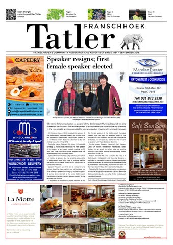 Franschhoek Tatler September 2018 By Siegfried Schfer Issuu