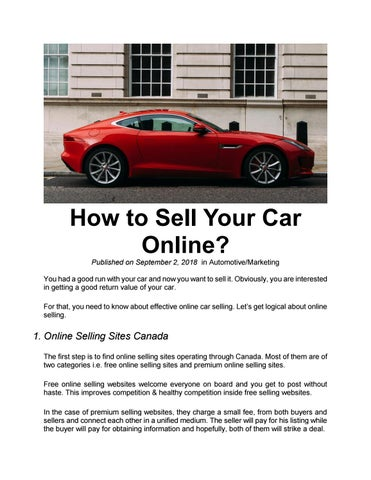 Car Selling Websites >> How To Sell Your Car Online By Marketspell Issuu