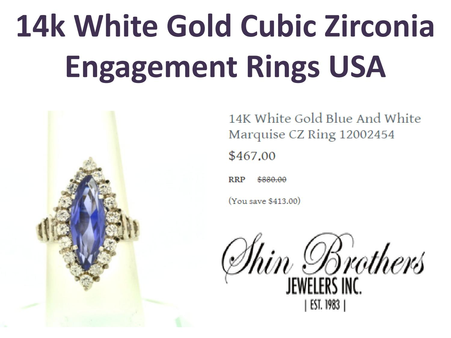14k White Gold Cubic Zirconia Engagement Rings USA by Shin