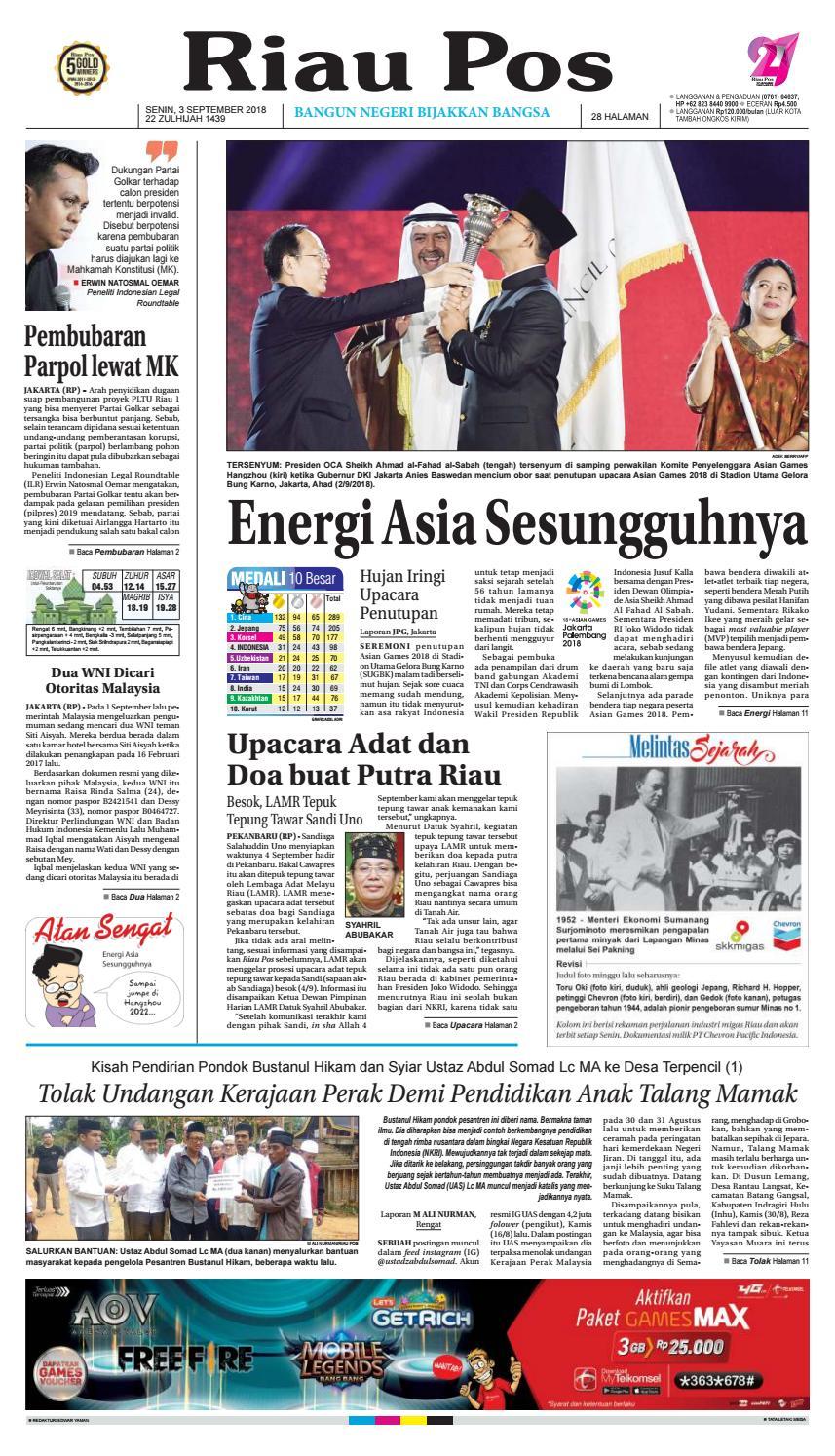 Riau Pos Edisi 3 September 2018 By Issuu Produk Umkm Bumn Lapis Surabaya Panjang Hj Enong
