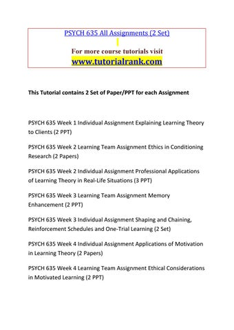 PSYCH 635 Education for Service--tutorialrank com by