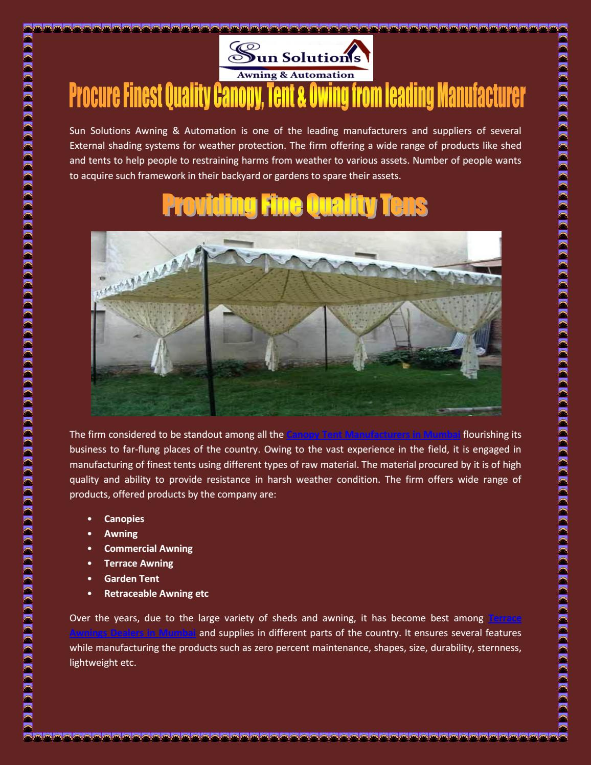 Procure Finest Quality Canopy, Tent & Owing from leading