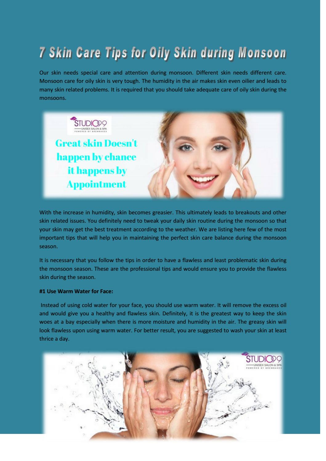 1111 Skin Care Tips for Oily Skin during Monsoon by studio1111salon11
