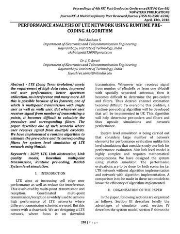JournalNX-PERFORMANCE ANALYSIS OF LTE NETWORK USING RUNTIME