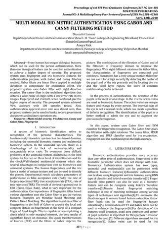 JournalNX-MULTI-MODAL BIO-METRIC AUTHENTICATION USING GABOR AND