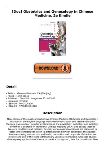 Doc Obstetrics And Gynecology In Chinese Medicine 2e Kindle By Bit