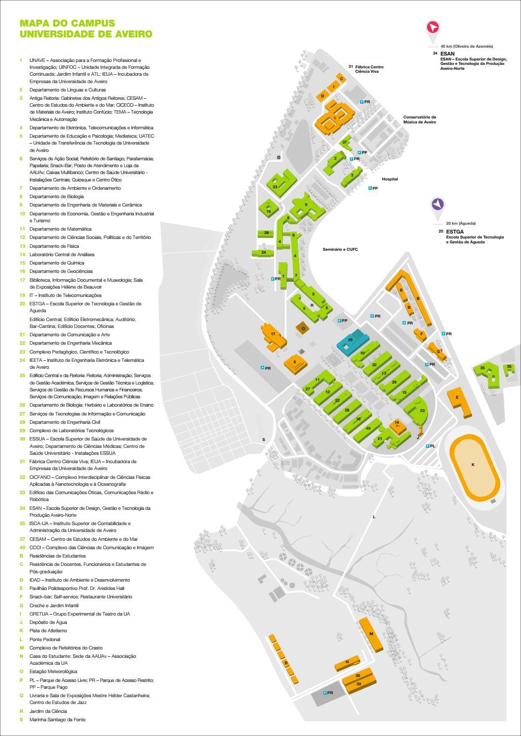 Mapa Do Campus Da Universidade De Aveiro 2018 By Universidade De