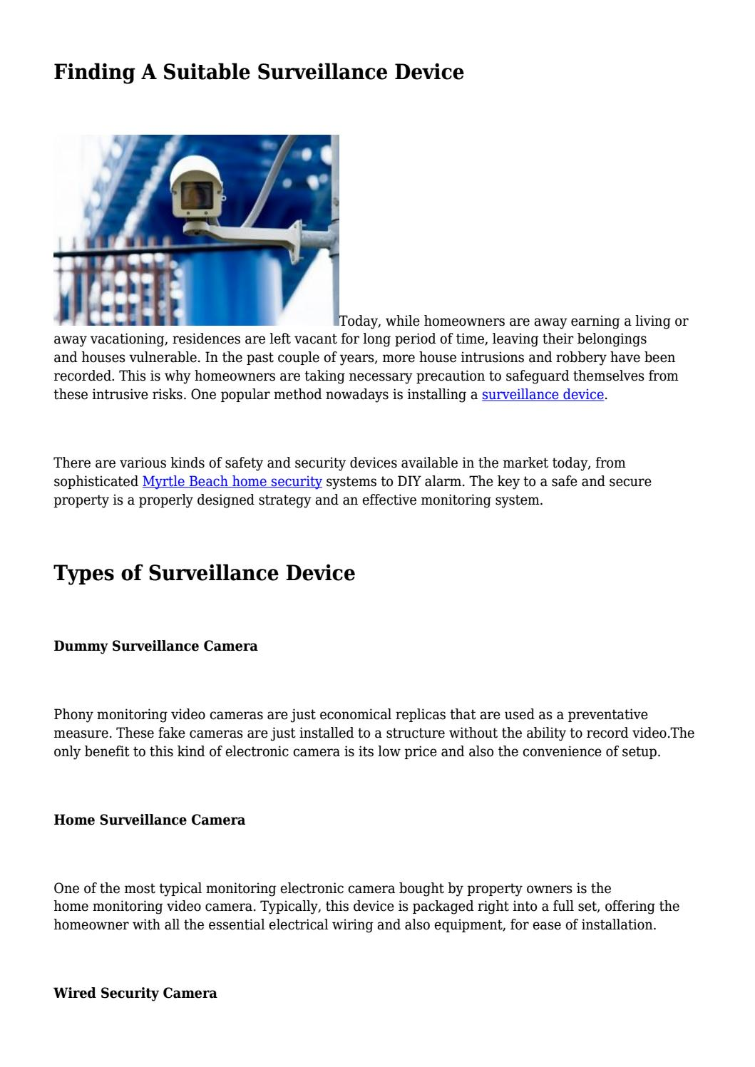 Finding A Suitable Surveillance Device By Home Security Pros Myrtle House Wiring Strategy Beach Issuu