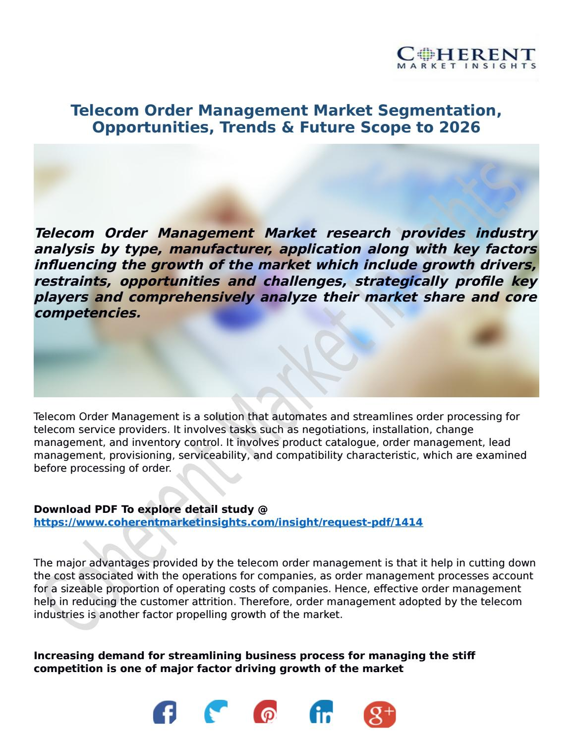 Telecom Order Management Market Segmentation, Opportunities