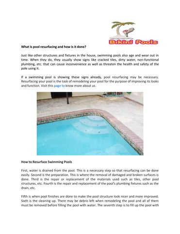 What is pool resurfacing and how is it done? by Aabheer dash - issuu