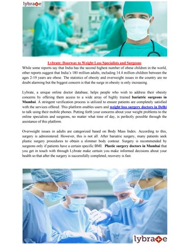 Weight Loss Surgery Doctors In Delhi By Lybrate Health Issuu
