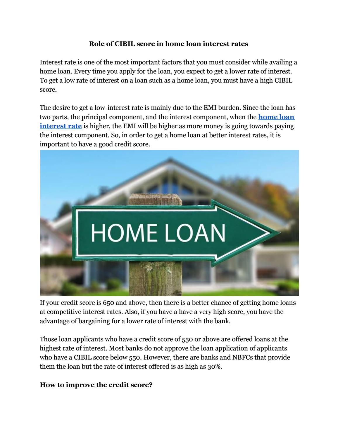 550 Credit Score Home Loan >> Role Of Cibil Score In Home Loan Interest Rates By Tushar