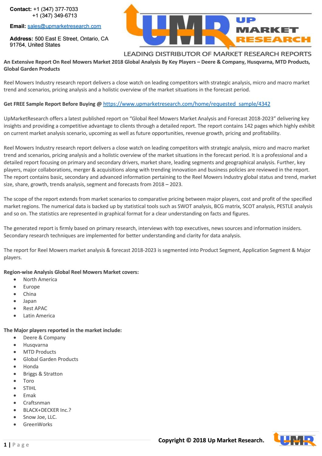 An Extensive Report On Reel Mowers Market 2018 Global