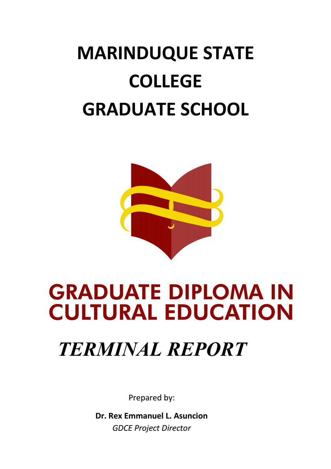 Graduate Diploma in Cultural Education Terminal Report by