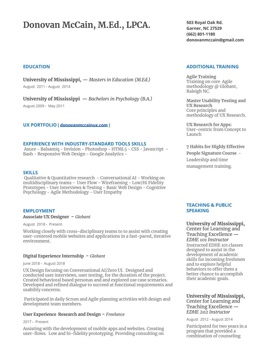 Resume by donovanmccain - issuu