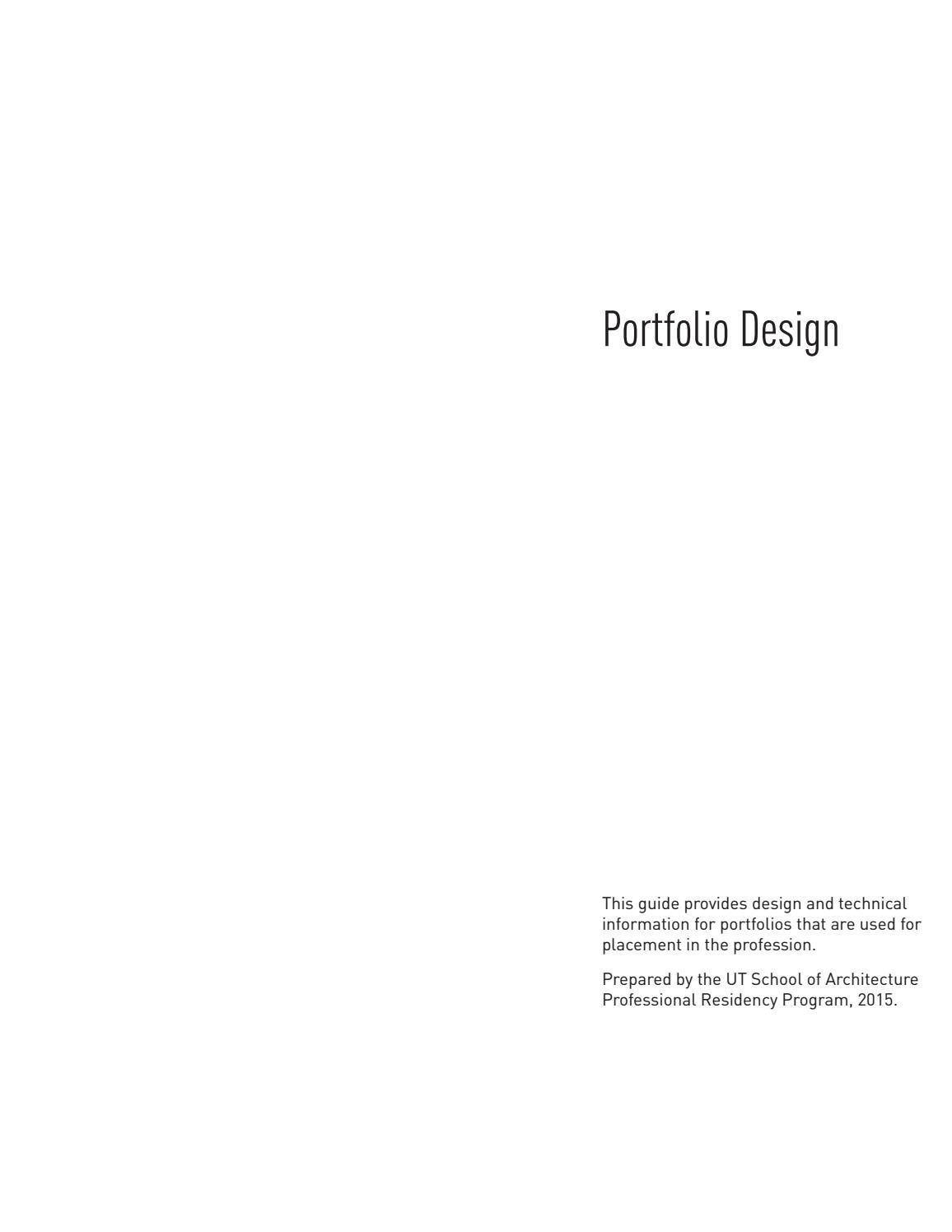 Portfolio Guide by UT School of Architecture - issuu