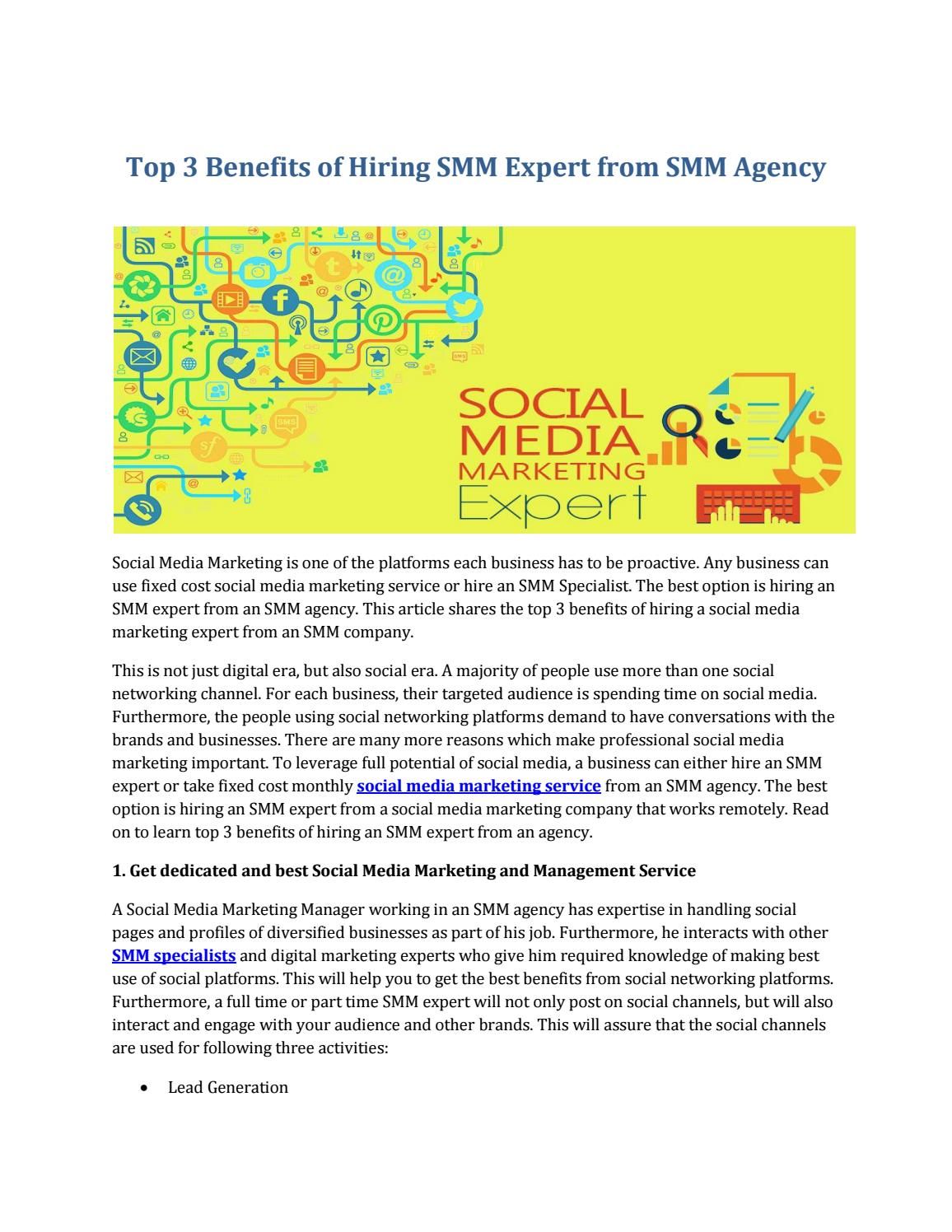 Top 3 Benefits Of Hiring Smm Expert From Smm Agency By Digitalmarketersindia Issuu