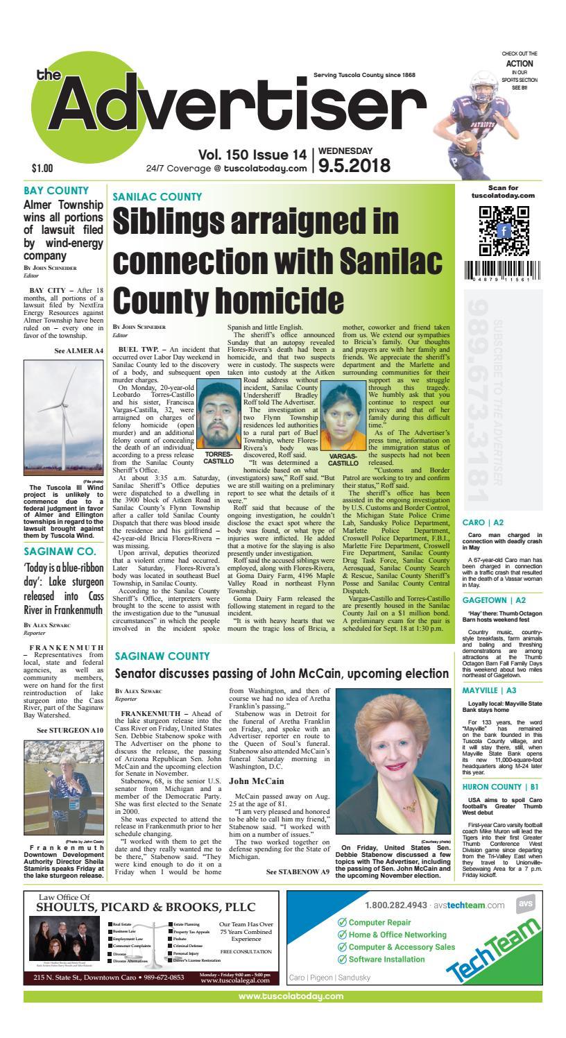 TCA 9-5-18 by Tuscola County Advertiser - issuu
