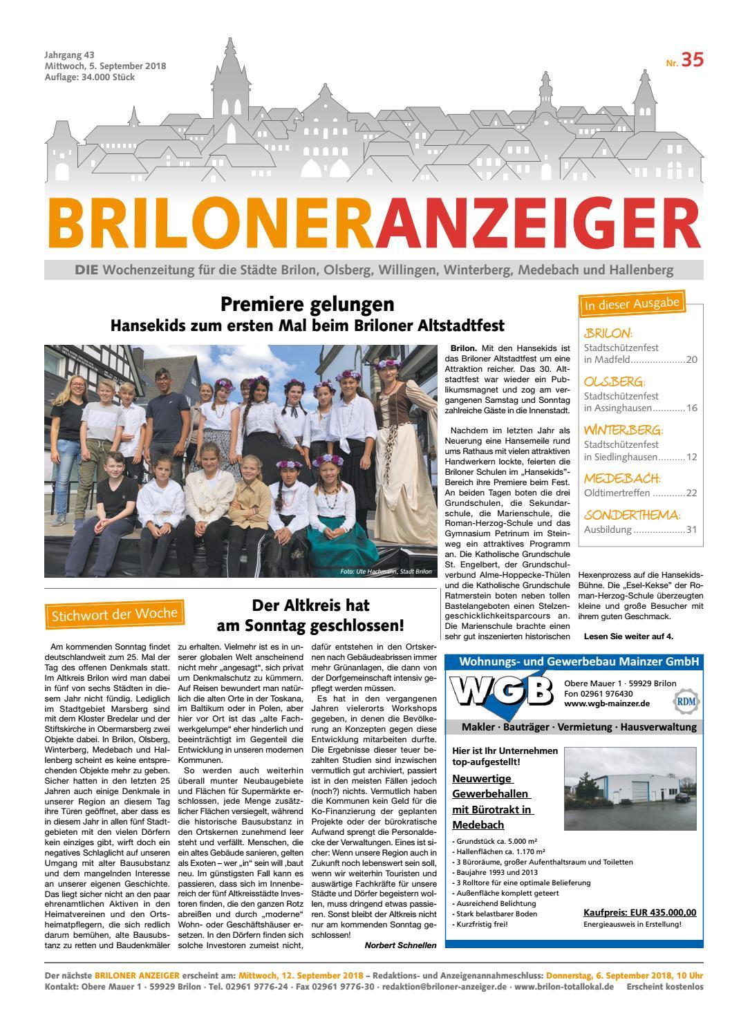 Briloner Anzeiger Ausgabe vom 05.09.208 Nr. 35 by Brilon-totallokal - issuu