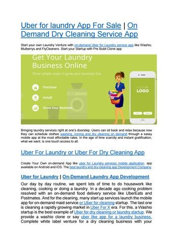 Uber For Laundry or Uber For Dry Cleaning App by