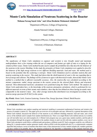 Monte Carlo Simulation Of Neutrons Scattering In The Reactor