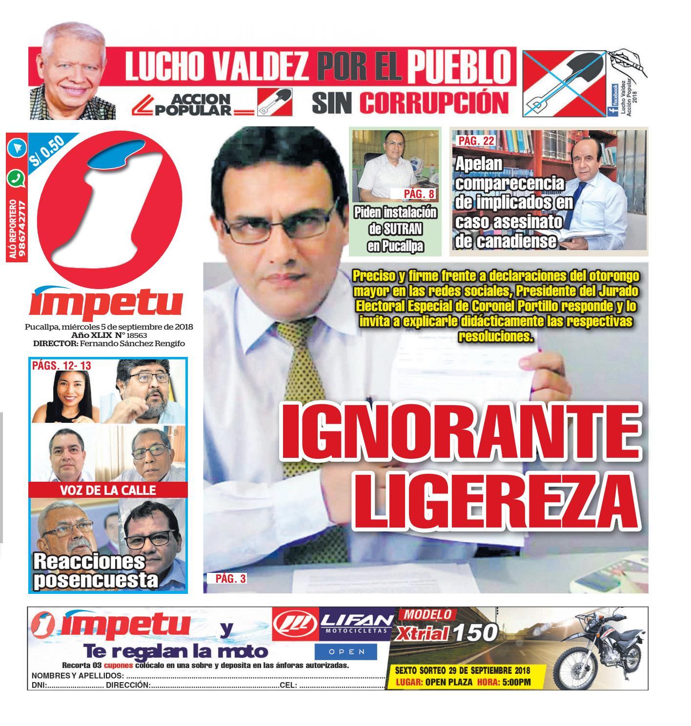 Impetu 05 de Setiembre del 2018 by Diario Ímpetu - issuu