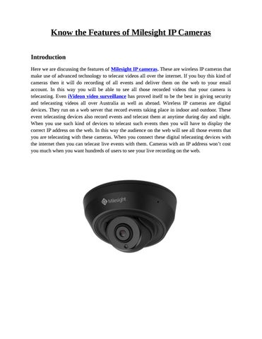 Information about Milesight IP Camera & iVideon Video