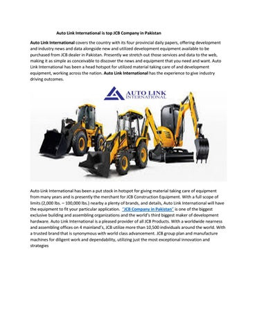 Auto Link International is top JCB Company in Pakistan by