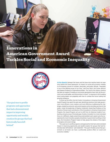 Page 12 of Innovations in American Government Award Tackles Social and Economic Inequality