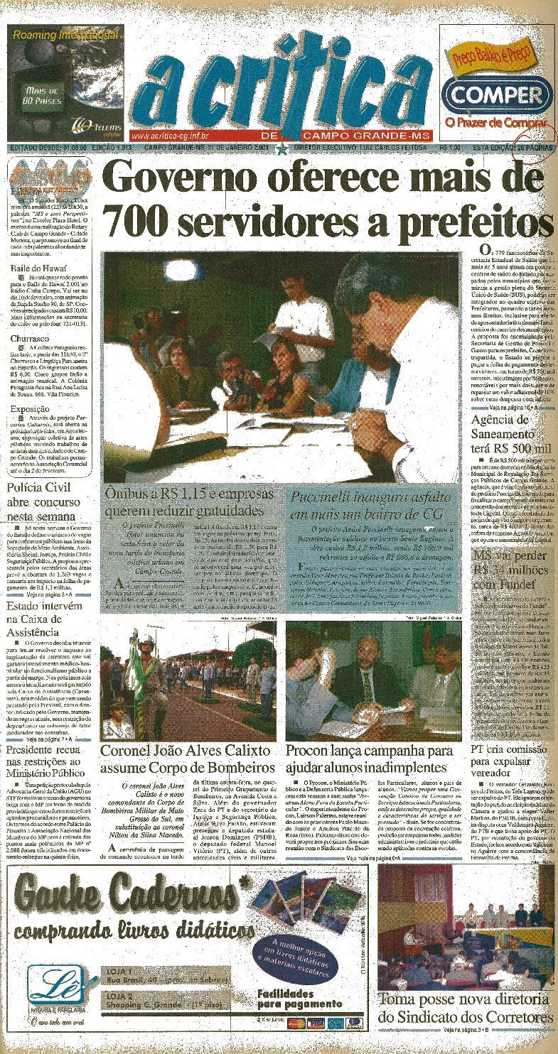 87f1db0f960c0 Jornal A Critica - Edição 1013- 21 01 2001 by JORNAL A CRITICA - issuu