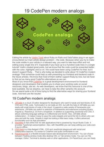 19 CodePen modern analogs by Syndicode - issuu