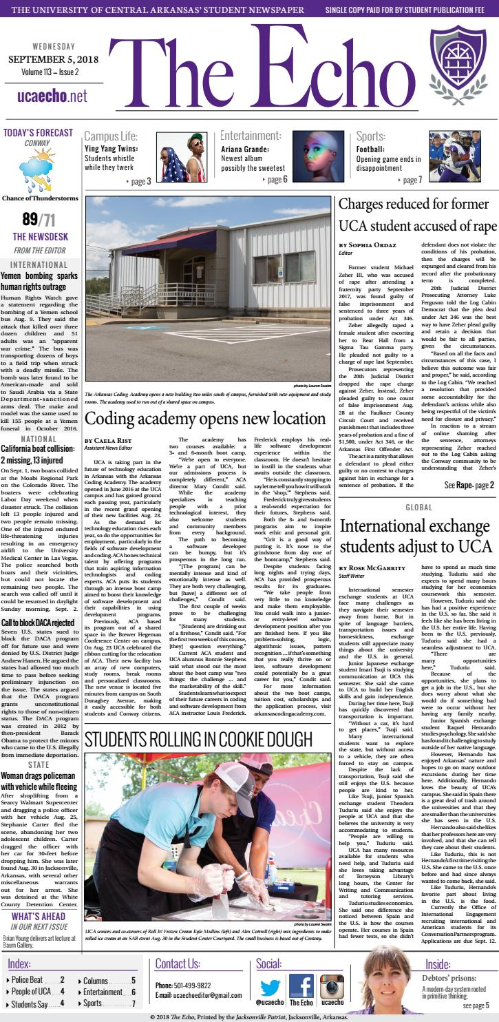 The Echo | September 5, 2018 by The Echo at UCA - issuu