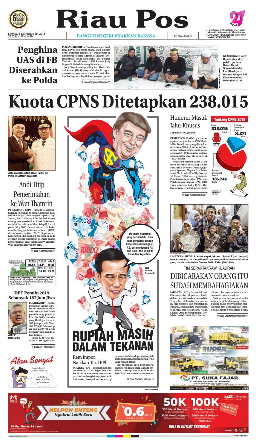 Riau Pos Edisi 6 September 2018 By Issuu Produk Ukm Bumn Tempat Tisu Handmade Trenggalek