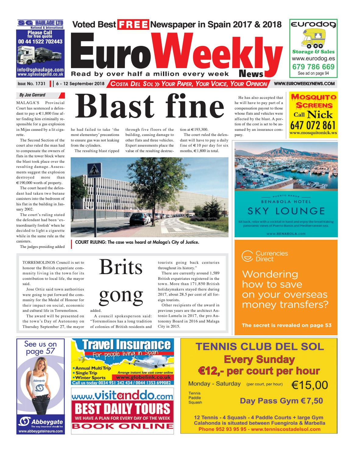b7a78c318 Euro Weekly News - Costa del Sol 6 - 12 September 2018 Issue 1731 by Euro  Weekly News Media S.A. - issuu
