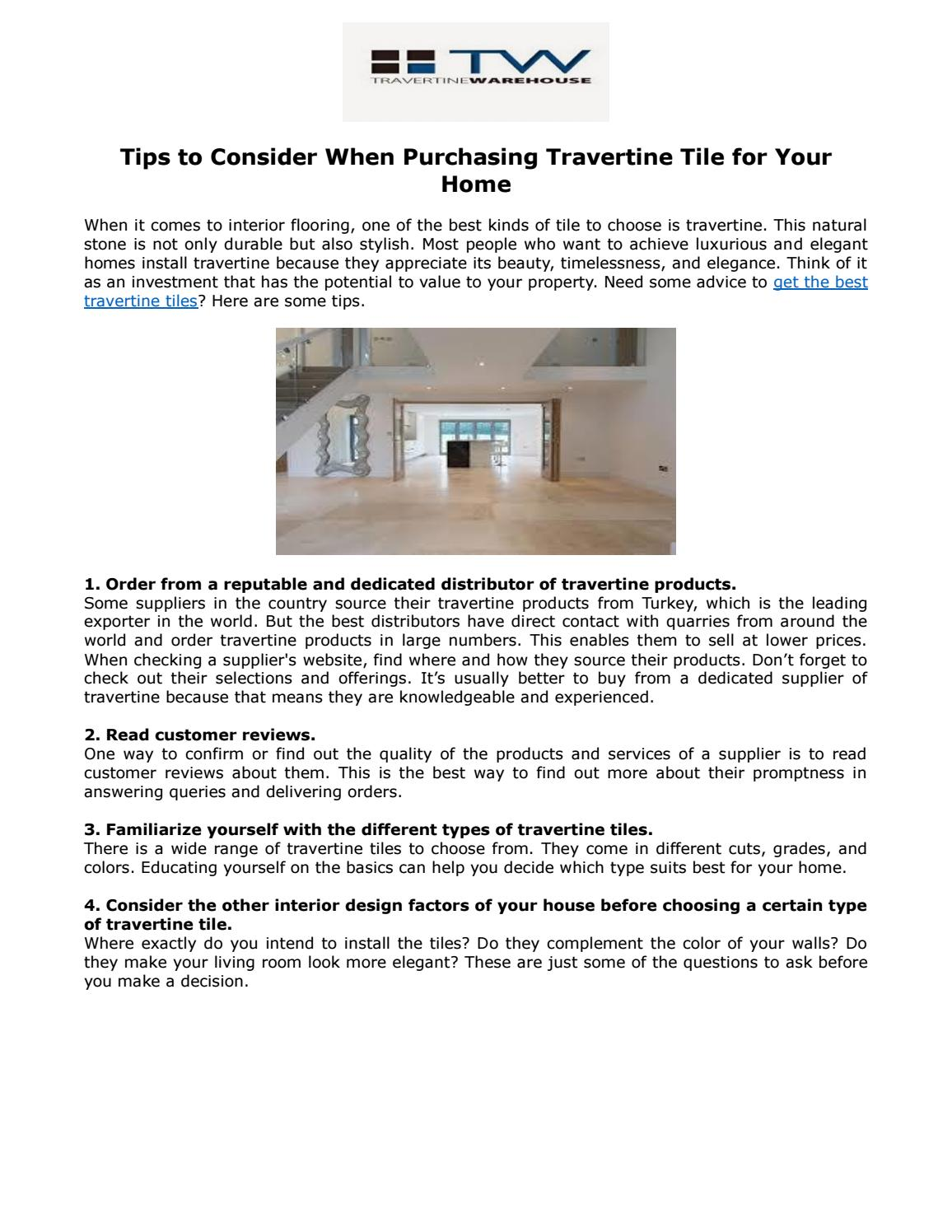 Tips To Consider When Purchasing Travertine Tile For Your Home By Travertine  Warehouse   Issuu